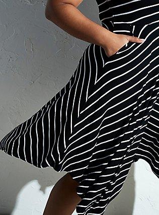 Super Soft Black & White Stripe Handkerchief Dress, STRIPE-BLACK WHITE, pdped