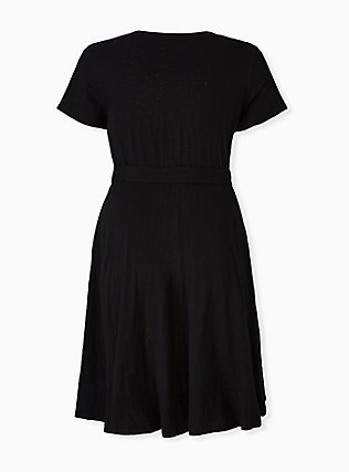 Plus Size Black Slub Jersey Ruffle Mini Wrap Dress, DEEP BLACK, alternate