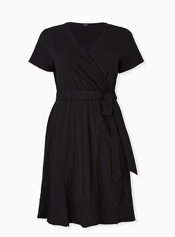 Black Slub Jersey Ruffle Mini Wrap Dress, , hi-res