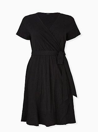 Plus Size Black Slub Jersey Ruffle Mini Wrap Dress, DEEP BLACK, hi-res