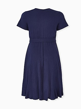Navy Slub Jersey Ruffle Mini Wrap Dress, PEACOAT, alternate