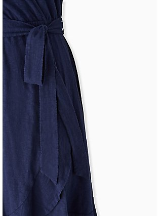 Plus Size Navy Slub Jersey Ruffle Mini Wrap Dress, PEACOAT, alternate