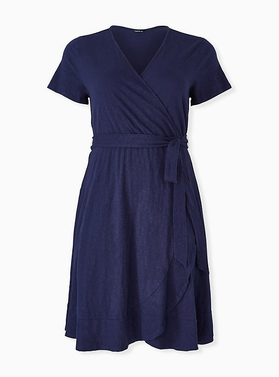 Plus Size Navy Slub Jersey Ruffle Mini Wrap Dress, , hi-res