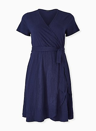 Plus Size Navy Slub Jersey Ruffle Mini Wrap Dress, PEACOAT, hi-res