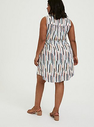 Plus Size Multi Brushstrokes Challis Zip Front Drawstring Shirt Dress, , alternate