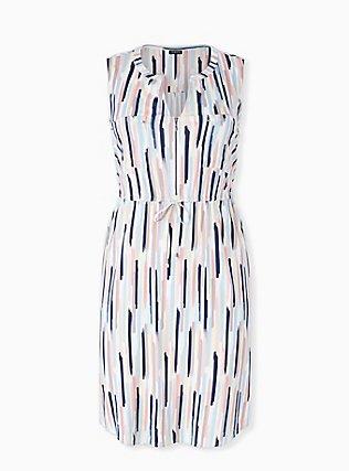Multi Brushstrokes Challis Zip Front Drawstring Shirt Dress, , flat