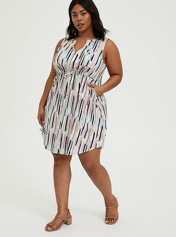 Plus Size Multi Brushstrokes Challis Zip Front Drawstring Shirt Dress, , hi-res