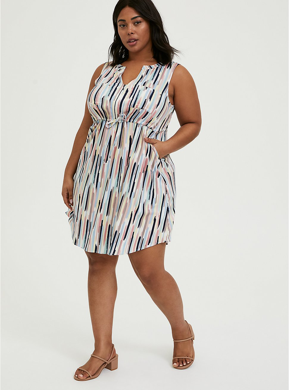 Multi Brushstrokes Challis Zip Front Drawstring Shirt Dress, , hi-res