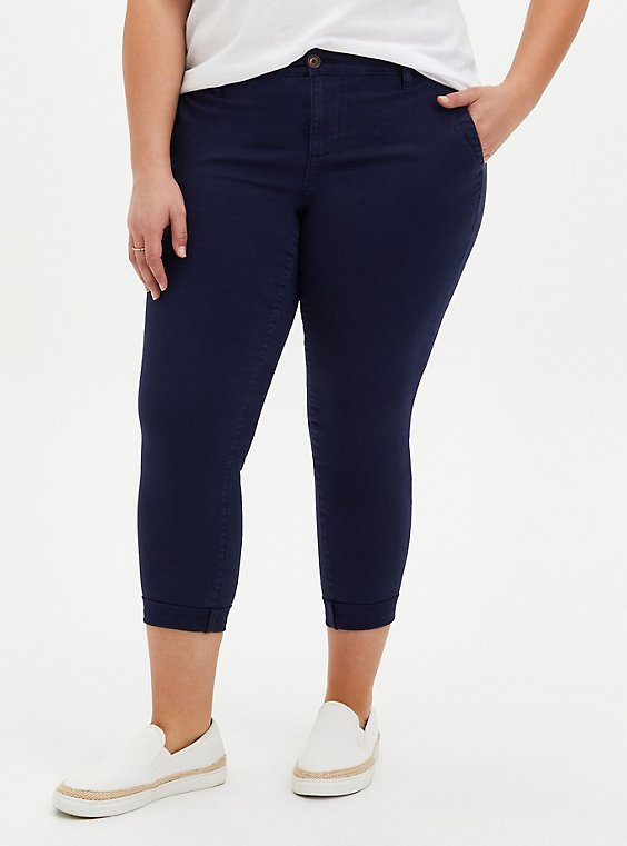 Plus Size Crop Chino Pant - Twill Navy, , hi-res