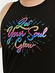 Soul Glow Rainbow Foil & Black Asymmetrical Active Muscle Tank, GREY, alternate