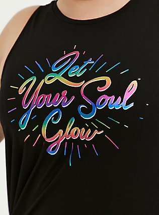 Soul Glow Rainbow Foil & Black Asymmetrical Active Muscle Tank, GREY, alternate