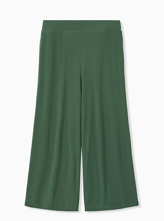 Plus Size Green Studio Knit Culotte Pant, , hi-res