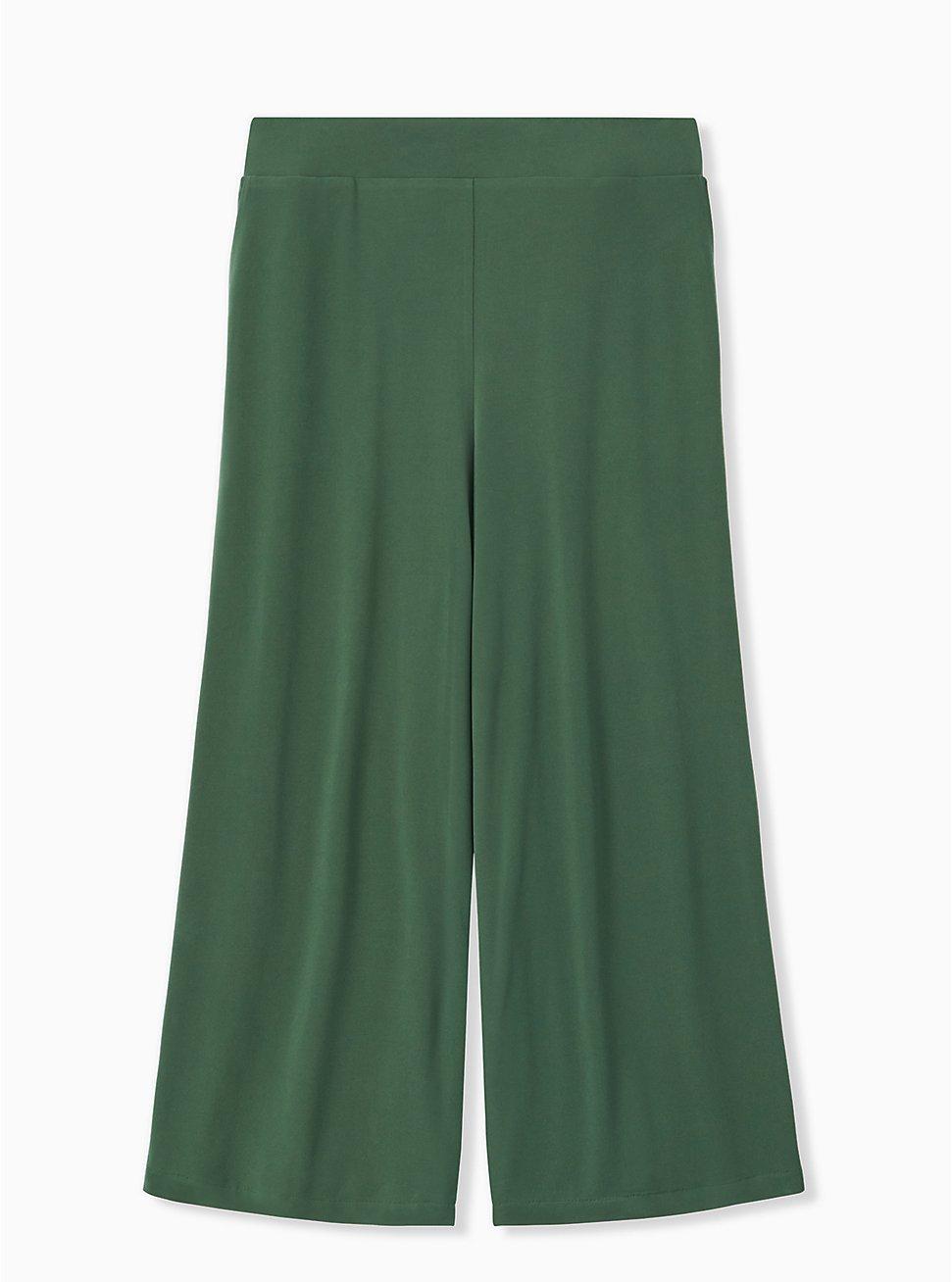 Plus Size Green Studio Knit Culotte Pant, GARDEN TOPIARY, hi-res