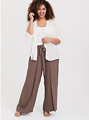 Plus Size Dark Taupe Crepe Layered Tie Front Wide Leg Pant, FALCON, alternate