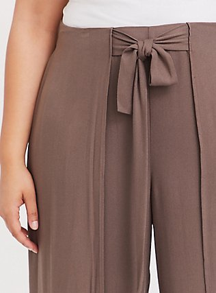 Dark Taupe Crepe Layered Tie Front Wide Leg Pant, FALCON, alternate