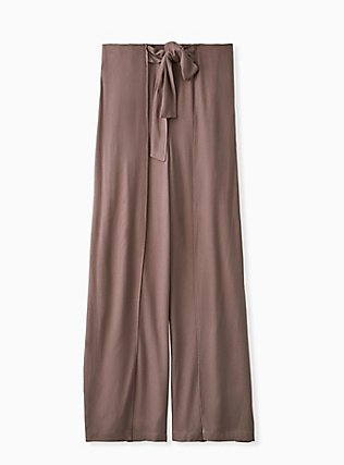 Dark Taupe Crepe Layered Tie Front Wide Leg Pant, FALCON, flat