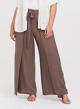 Dark Taupe Crepe Layered Tie Front Wide Leg Pant, FALCON, hi-res