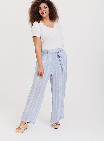 Plus Size Light Blue Geo Stripe Gauze Self Tie Wide Leg Pant, STRIPES, alternate