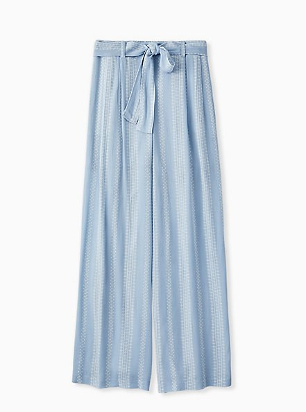 Plus Size Light Blue Geo Stripe Gauze Self Tie Wide Leg Pant, STRIPES, hi-res
