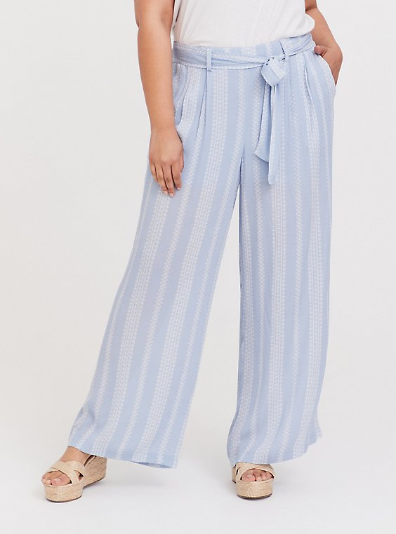 Plus Size Light Blue Geo Stripe Gauze Self Tie Wide Leg Pant, , hi-res
