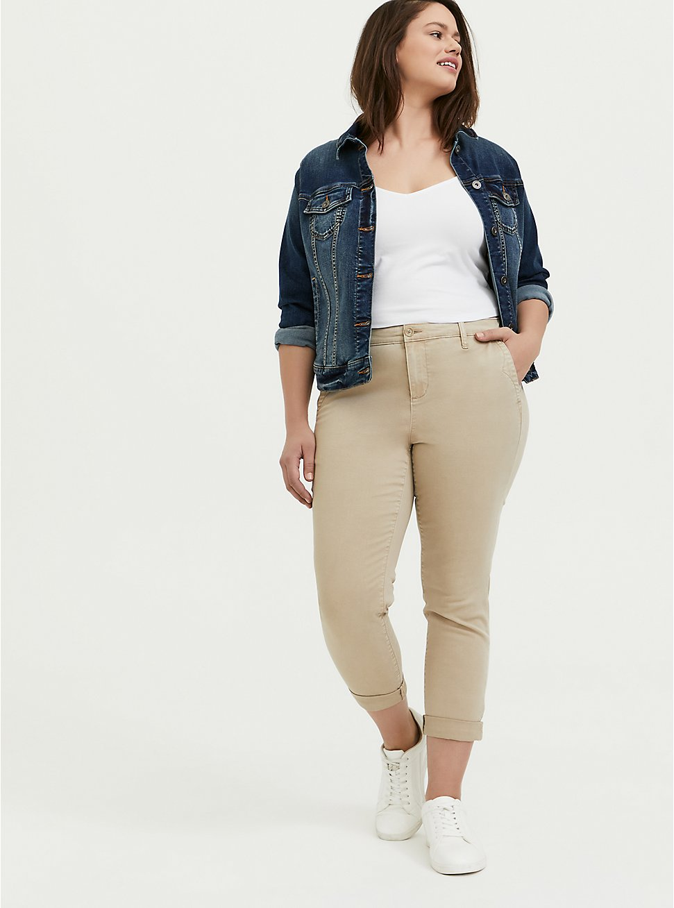 Plus Size Crop Chino Pant – Twill Beige , TAN/BEIGE, hi-res