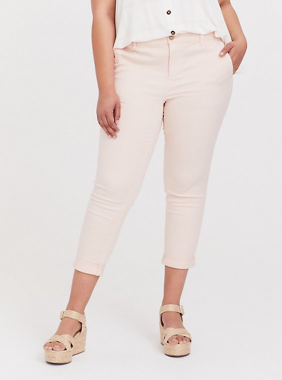 Crop Chino Pant - Twill Light Pink, PEACH BLUSH, hi-res
