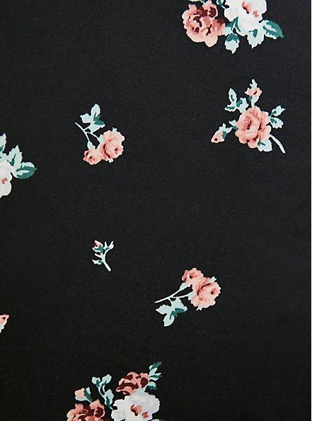 Belted Mid Short - Sateen Floral Black, FLORAL, alternate