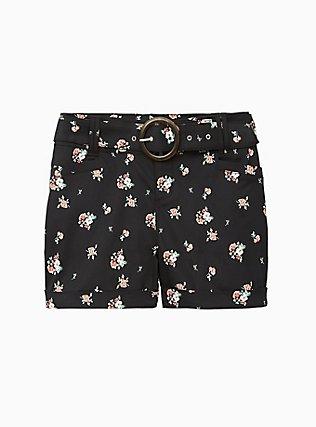 Belted Mid Short - Sateen Floral Black, FLORAL, flat