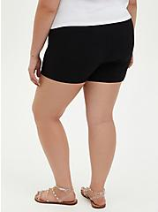 Black Button High Rise Short, DEEP BLACK, alternate