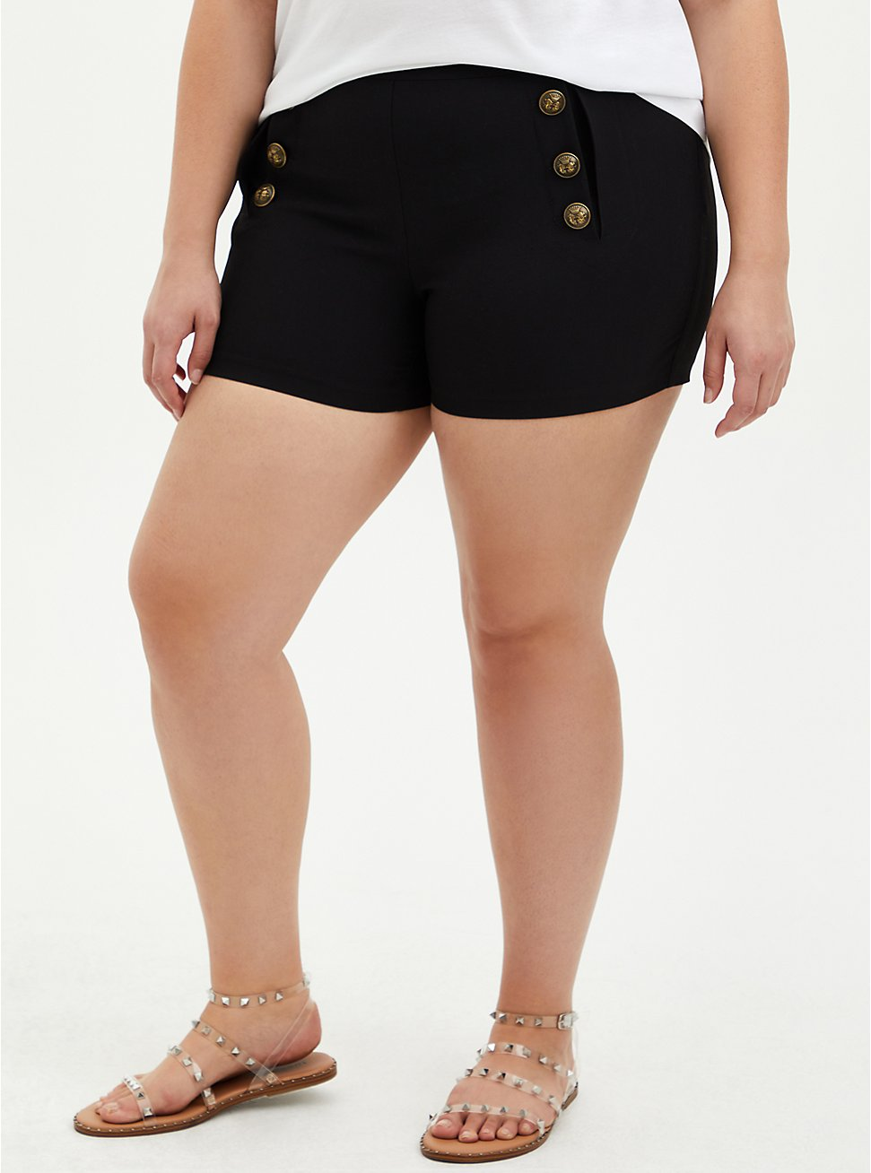 Black Button High Rise Short, DEEP BLACK, hi-res