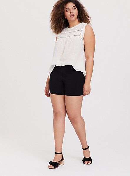 Plus Size Short Short - Structured Woven Black, DEEP BLACK, alternate