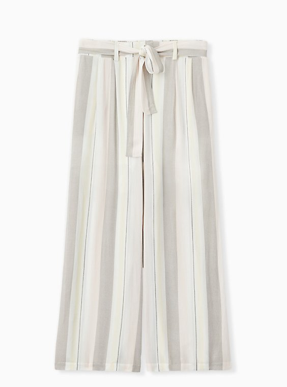 Plus Size Multi Stripe Crinkle Gauze Self Tie Wide Leg Pant , , hi-res