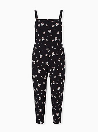 Black Ditsy Floral Crepe Overall, FLORAL, flat