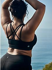 Black Lattice Back Wicking Sports Bra, DEEP BLACK, hi-res