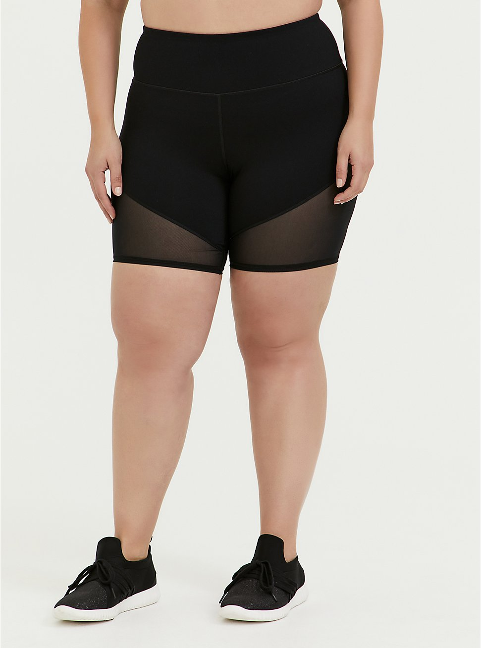 Black Mesh Inset Wicking Active Bike Short, DEEP BLACK, hi-res