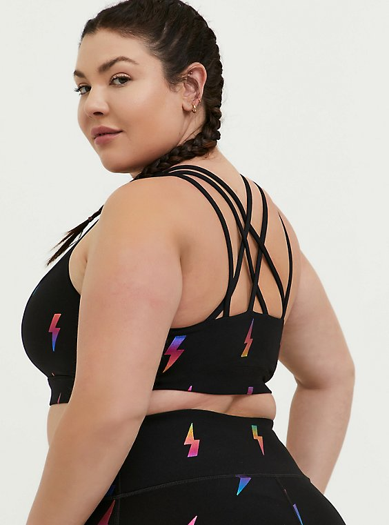 Plus Size Black & Rainbow Bolt Lattice Back Wicking Sports Bra, , hi-res