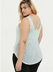 Mint Blue Burnout Wicking 2fer Active Tank, GREEN, alternate
