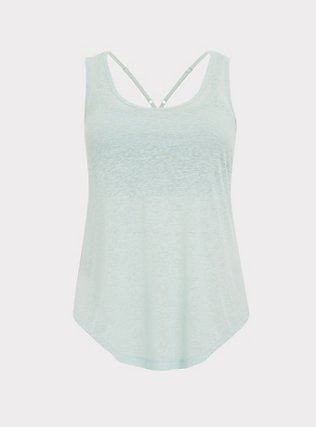 Mint Blue Burnout Wicking 2fer Active Tank, GREEN, flat