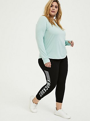 Mint Blue Ladder Back Active Sweatshirt, GREEN, alternate