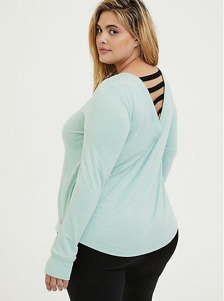 Mint Blue Ladder Back Active Sweatshirt, GREEN, alternate
