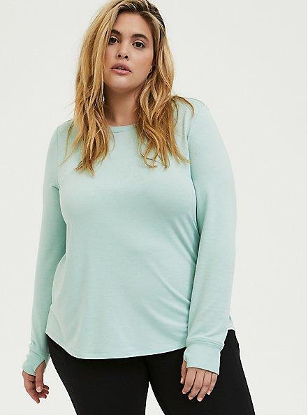 Mint Blue Ladder Back Active Sweatshirt, GREEN, hi-res