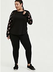 Plus Size Black & Leopard Skull Sleeve Ladder Back Active Sweatshirt, DEEP BLACK, alternate
