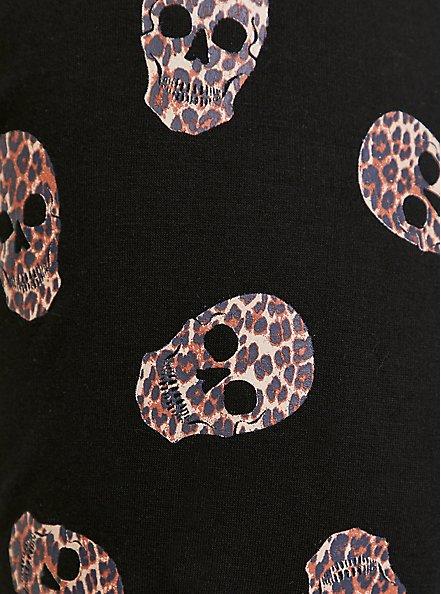 Black & Leopard Skull Sleeve Ladder Back Active Sweatshirt, DEEP BLACK, alternate