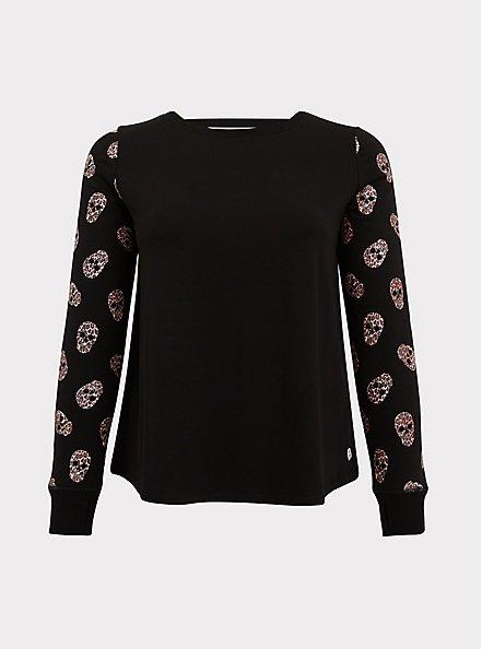 Black & Leopard Skull Sleeve Ladder Back Active Sweatshirt, DEEP BLACK, hi-res