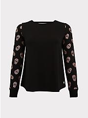 Plus Size Black & Leopard Skull Sleeve Ladder Back Active Sweatshirt, DEEP BLACK, hi-res