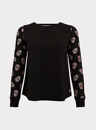 Black & Leopard Skull Sleeve Ladder Back Active Sweatshirt, DEEP BLACK, flat