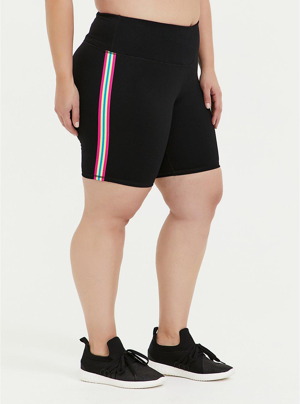 Black & Neon Stripe Wicking Active Bike Short, DEEP BLACK, hi-res