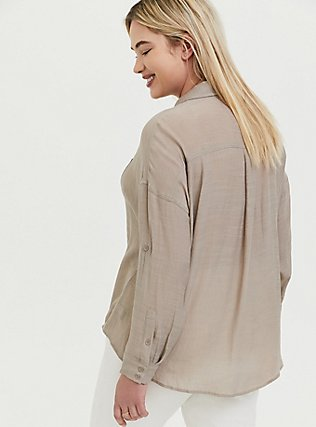 Plus Size Taupe Gauze Drop Shoulder Button Front Tunic, ATMOSPHERE, alternate