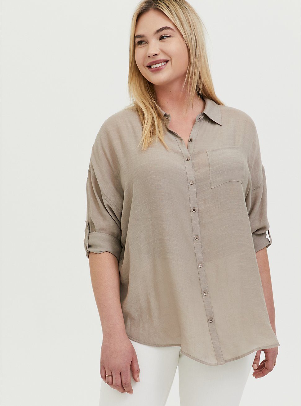 Plus Size Taupe Gauze Drop Shoulder Button Front Tunic, , hi-res