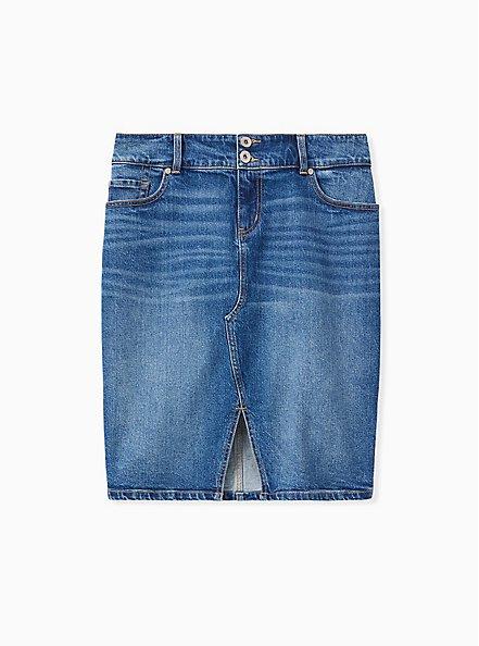 Denim Slit Front Pencil Skirt - Medium Wash , BLUE STAR, hi-res